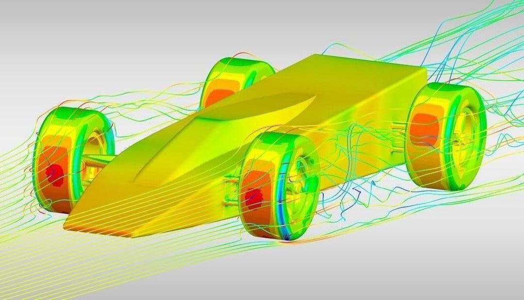 Моделирование аэродинамики автомобиля с вращающимися колесами