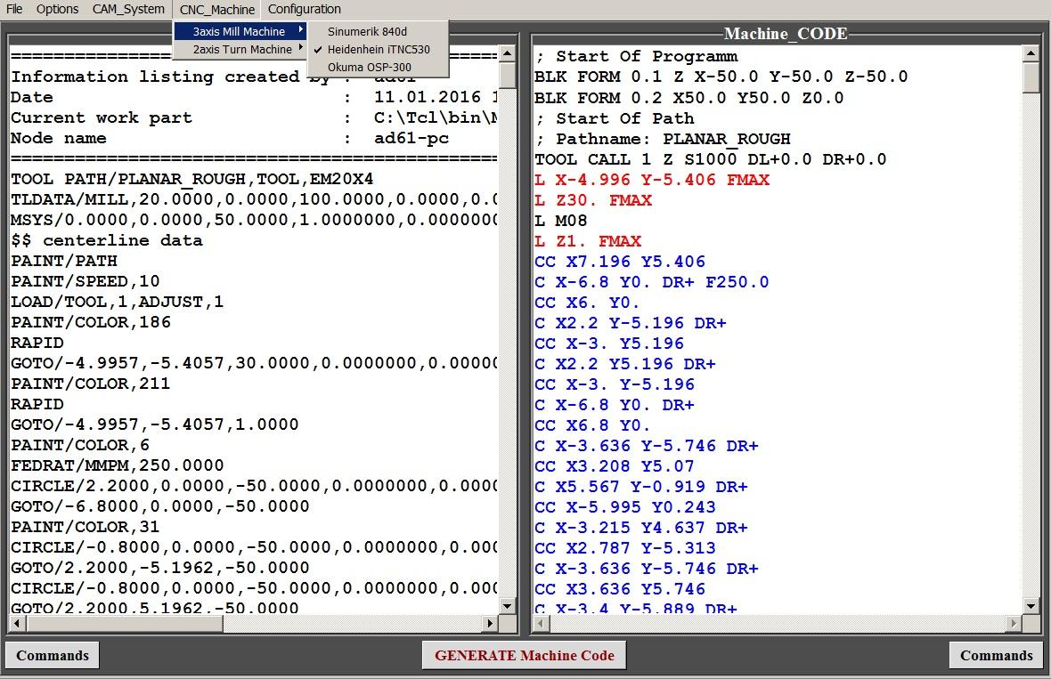 Код программы для нарезания резьбы