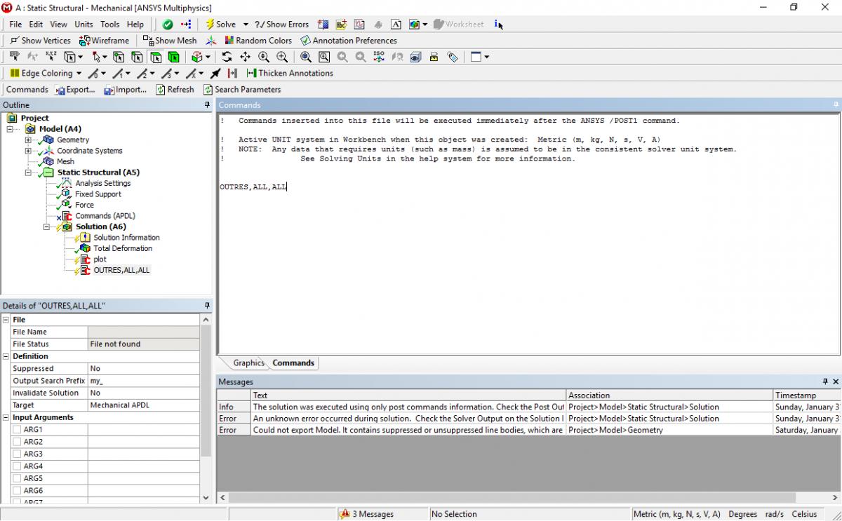как использовать команды APDL в Workbench - ANSYS Workbench